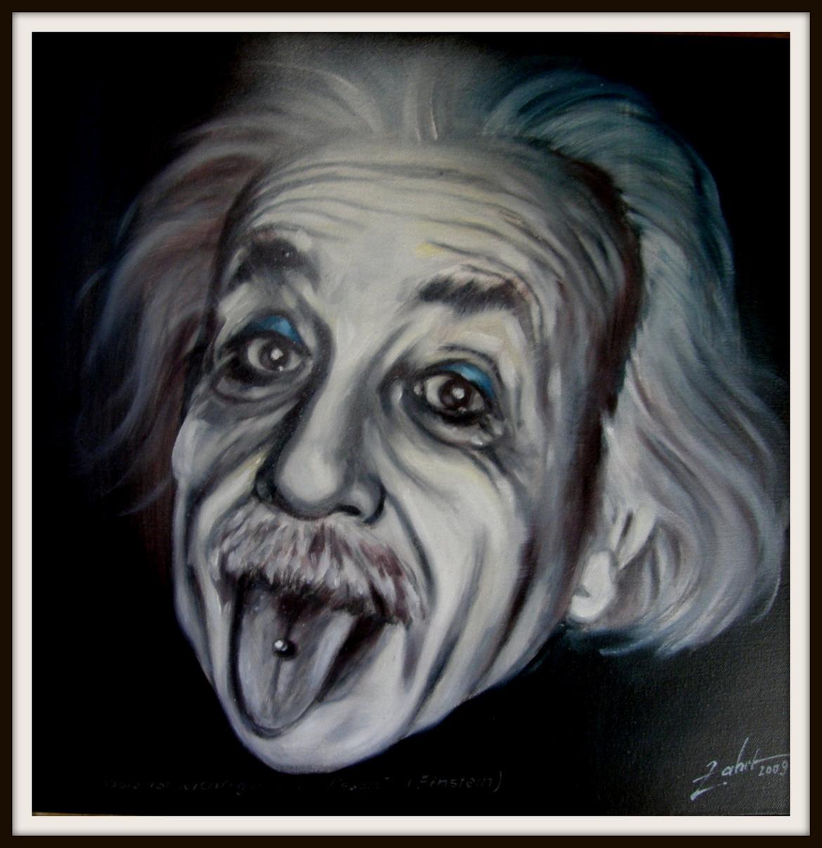 Albert Einstein mit Zungenpiercing – Ölbild von Peter Zahrt